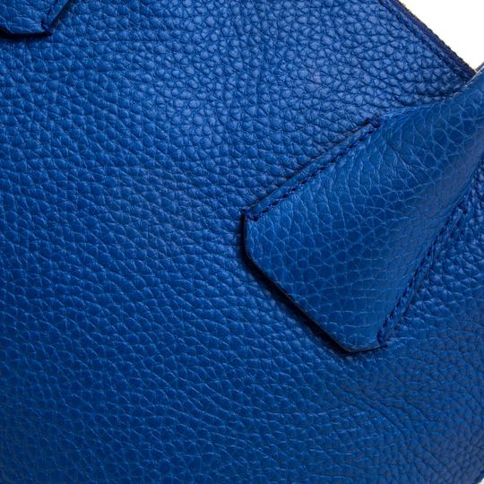 Burberry Leather Pebbled Satchel in Blue Image 10