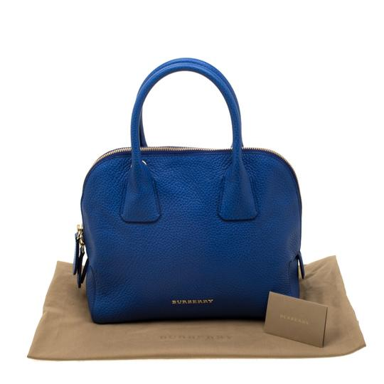 Burberry Leather Pebbled Satchel in Blue Image 11