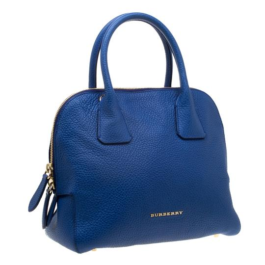 Burberry Leather Pebbled Satchel in Blue Image 3