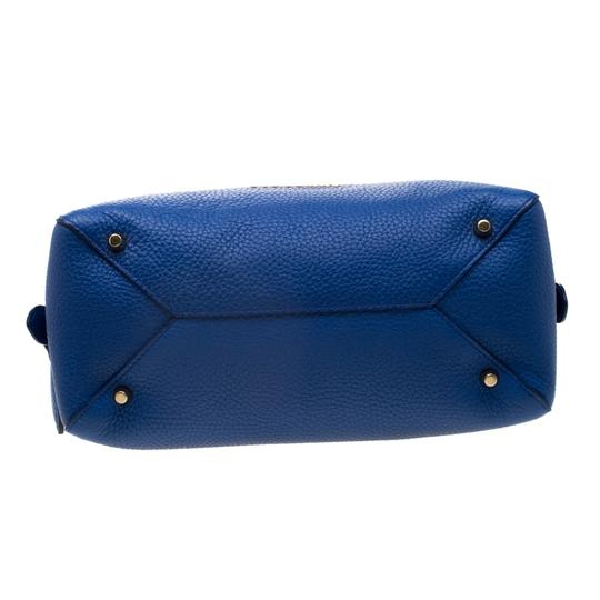 Burberry Leather Pebbled Satchel in Blue Image 4