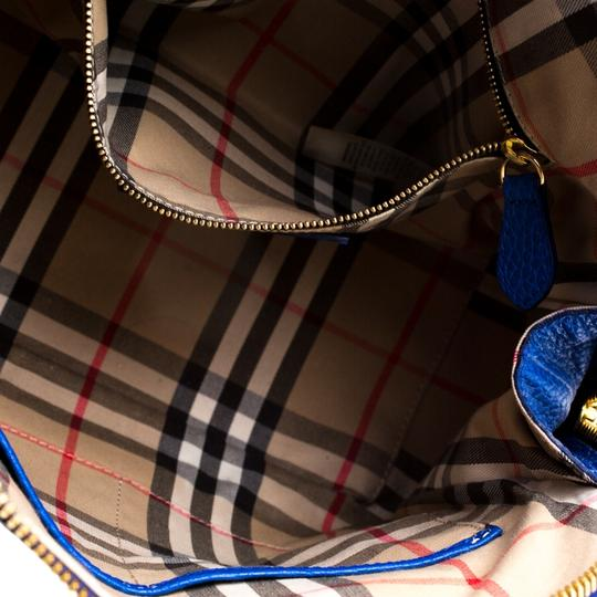 Burberry Leather Pebbled Satchel in Blue Image 5