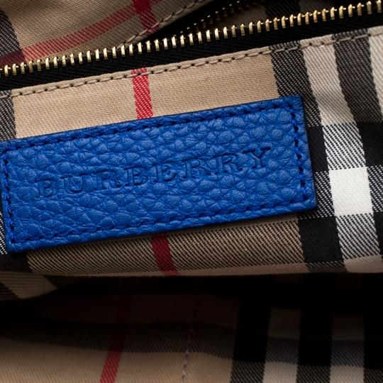 Burberry Leather Pebbled Satchel in Blue Image 6