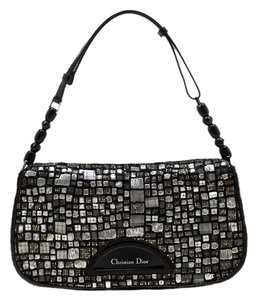 Dior Nylon Embellished Pearl Shoulder Bag