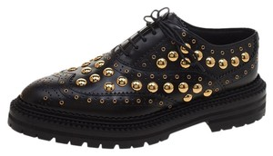 Burberry Leather Studded Platform Black Flats