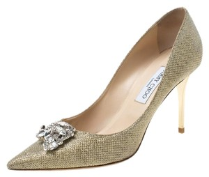 Jimmy Choo Glitter Embellished Pointed Toe Leather Metallic Pumps
