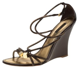Louis Vuitton Patent Leather Canvas Strappy Wedge Leather Brown Sandals