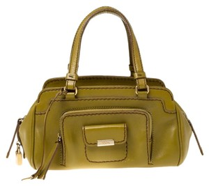 Tod's Leather Fabric Satchel in Green
