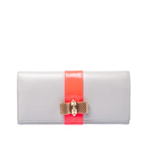 Christian Louboutin Grey/Neon Leather Sweet Charity Continental Wallet