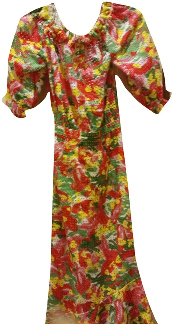 Item - Multiple Perforated Multicolor Gathered Anglaise Long Casual Maxi Dress Size 0 (XS)