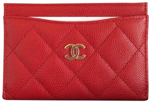 Chanel NEW Chanel Classic Flat Card Holder Red Gold 19B Grained Calskin