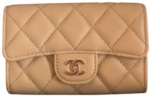Chanel NEW Chanel Classic Card Holder Button 19B Beige Gold