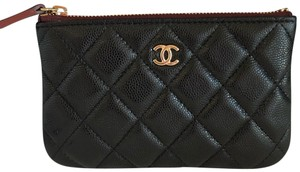Chanel NEW Chanel O Case Pouch Zip Grained Calfskin Coin Black Gold 19B
