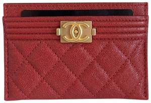 Chanel NEW Chanel Caviar Flat Card Holder Boy Classic Red Gold 19A