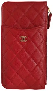 Chanel NEW Chanel Phone Case Pouch Leather Caviar Red Gold 19B