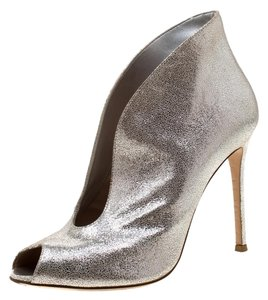 Gianvito Rossi Metallic Suede Peep Toe Ankle Silver Boots