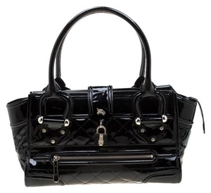 Burberry Patent Leather Quilted Satchel in Black