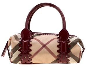 Burberry Pvc Patent Leather Fabric Satchel in Beige