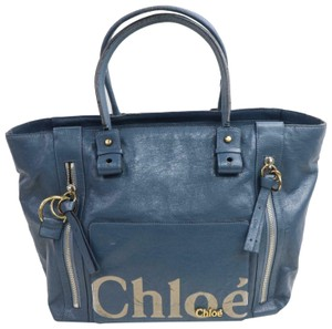 Chloé Xl Tote/Satchel Leather/Gold Eclipse Excellent Condition On Trend Style Tote in navy leather/gold