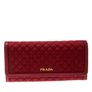Prada Red Quilted Nylon and Leather Continental Flap Wallet