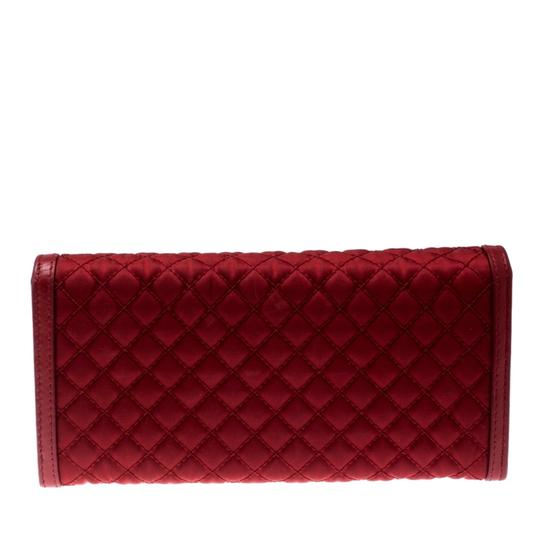 Prada Red Quilted Nylon and Leather Continental Flap Wallet Image 1