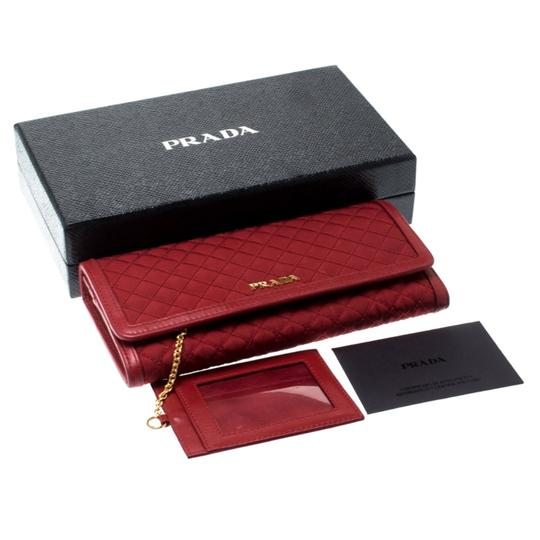 Prada Red Quilted Nylon and Leather Continental Flap Wallet Image 10