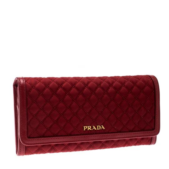 Prada Red Quilted Nylon and Leather Continental Flap Wallet Image 2