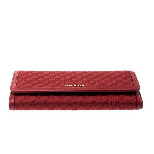 Prada Red Quilted Nylon and Leather Continental Flap Wallet Image 3