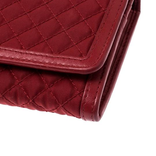 Prada Red Quilted Nylon and Leather Continental Flap Wallet Image 4