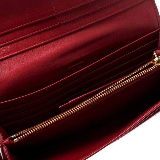 Prada Red Quilted Nylon and Leather Continental Flap Wallet Image 5
