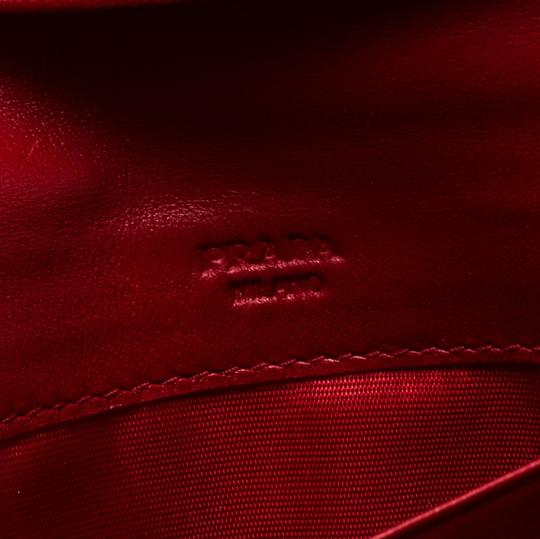 Prada Red Quilted Nylon and Leather Continental Flap Wallet Image 7