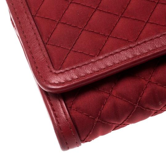 Prada Red Quilted Nylon and Leather Continental Flap Wallet Image 8
