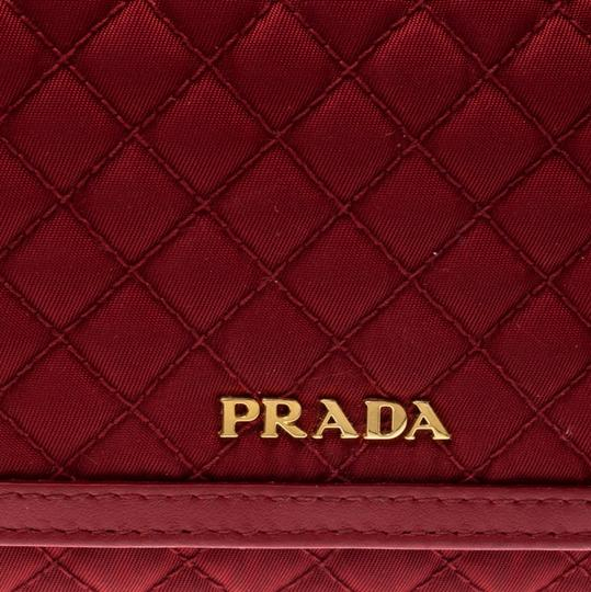 Prada Red Quilted Nylon and Leather Continental Flap Wallet Image 9