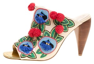 Tory Burch Leather Embroidered Multicolor Sandals