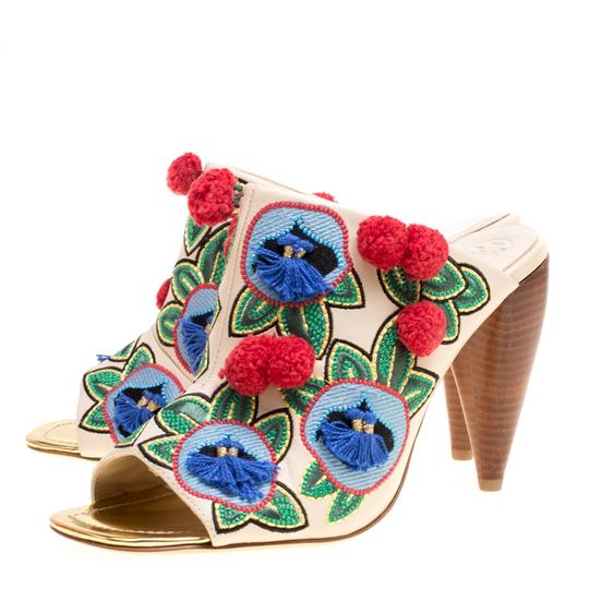 Tory Burch Leather Embroidered Multicolor Sandals Image 4