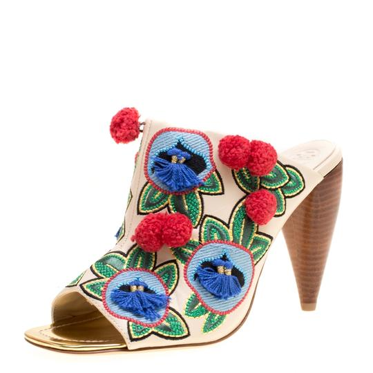 Tory Burch Leather Embroidered Multicolor Sandals Image 6
