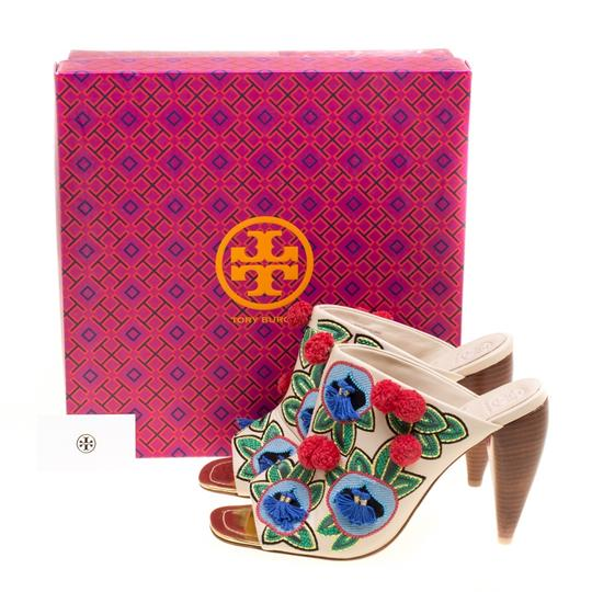 Tory Burch Leather Embroidered Multicolor Sandals Image 7