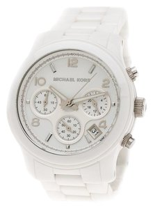 Michael Kors White Ceramic Runway MK5161 Chronograph Women's Wristwatch 39 mm