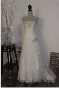 David's Bridal White Lace Ntyp3344 Traditional Wedding Dress Size 4 (S)