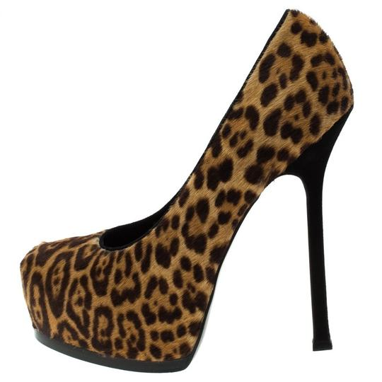 Saint Laurent Leather Print Brown Pumps Image 4