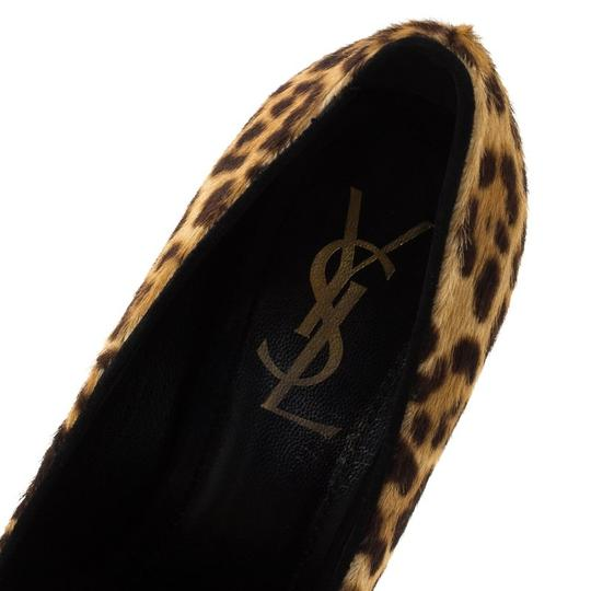 Saint Laurent Leather Print Brown Pumps Image 5