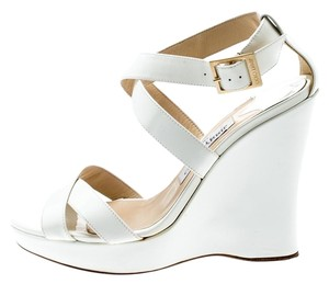 Jimmy Choo Patent Leather Platform White Sandals