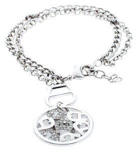 Etienne Aigner Silver Plated Circular Crystal Embellished Logo Double Chain Bracelet