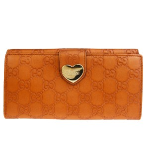 Gucci Auth GUCCI GG Pattern Heart Long Bifold Wallet Purse Leather Orange