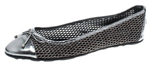 Jimmy Choo Mesh Leather Trim Leather Rubber Silver Flats