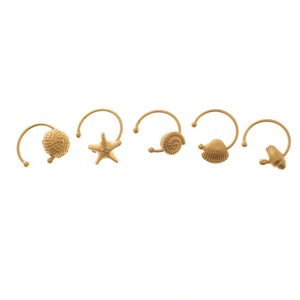 Valentino Set of 5 Multi Shell Gold Tone Adjustable Rings