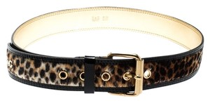 Dolce&Gabbana Beige/Gold Leopard Print Calfhair and Leather Belt 85CM