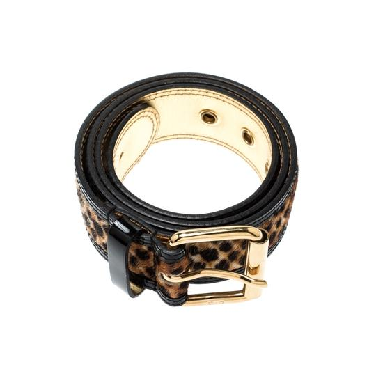 Dolce&Gabbana Beige/Gold Leopard Print Calfhair and Leather Belt 85CM Image 1
