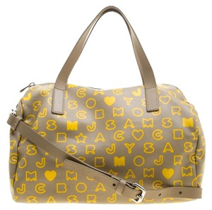 Marc by Marc Jacobs Leather Satin Satchel in Beige