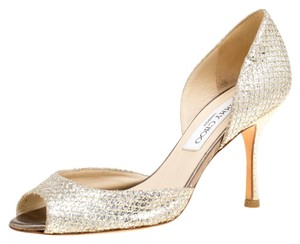 Jimmy Choo Leather Glitter Metallic Pumps