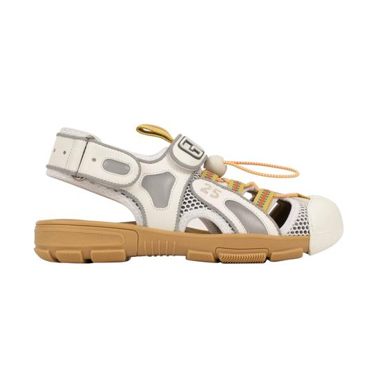 Gucci Leather Summer Rubber Mesh White Sandals Image 2